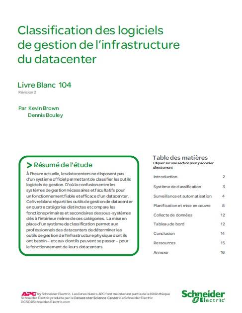 Classification des logiciels de gestion de l'infrastructure du datacenter