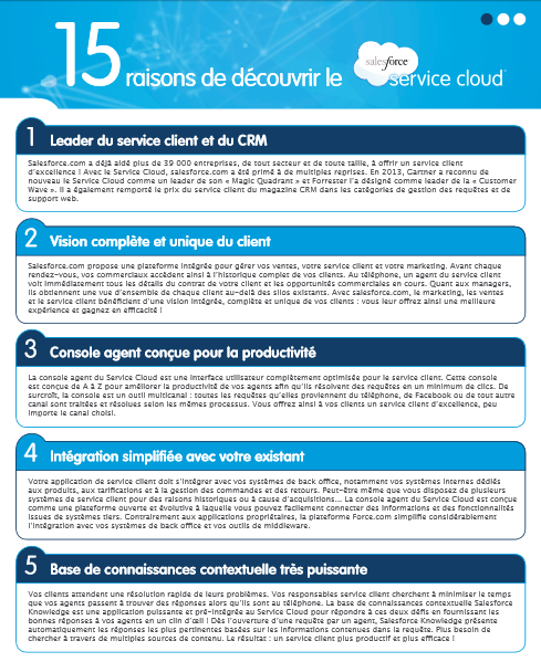 15 raisons de découvrir le Salesforce Service cloud
