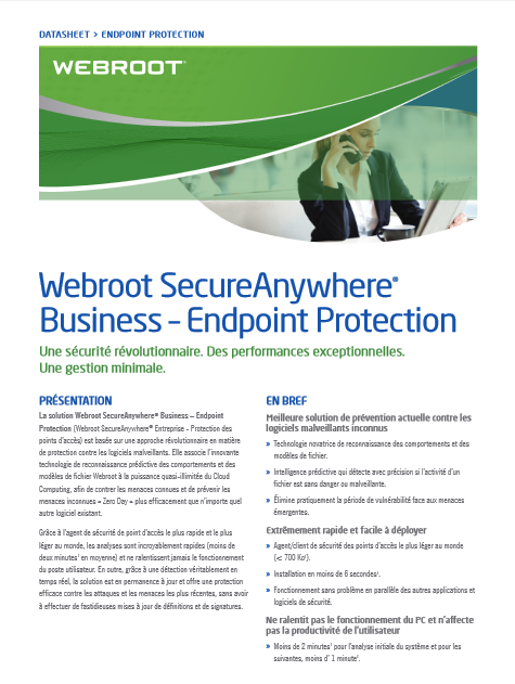Webroot SecureAnywhere® Business – Endpoint Protection : Une sécurité révolutionnaire, des performances exceptionnelles, une gestion minimale.
