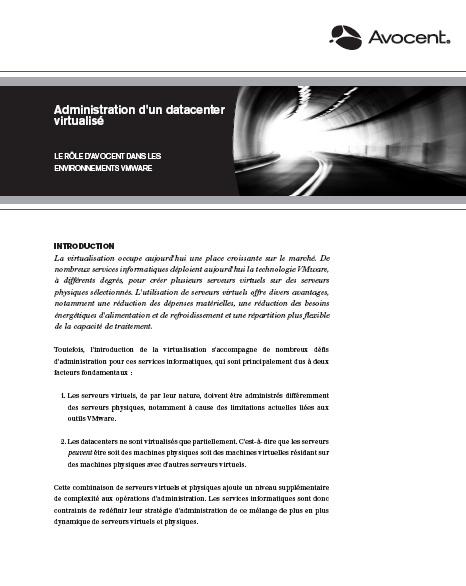 Administration d'un Data Center virtualisé