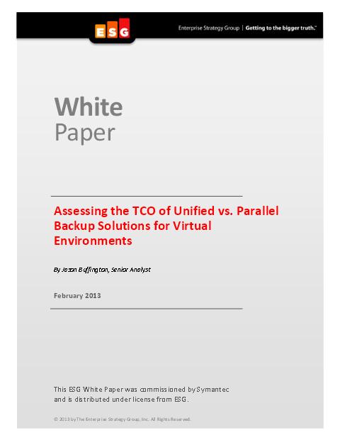 Evaluation des TCO of Unified vs. Parallel Backup Solutions pour environnements virtuels
