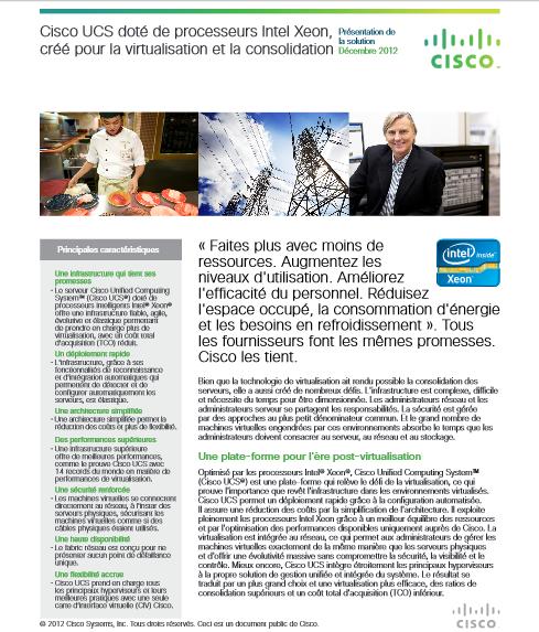 Cisco UCS doté de processeurs Intel Xeon, créé pour la virtualisation et la consolidation