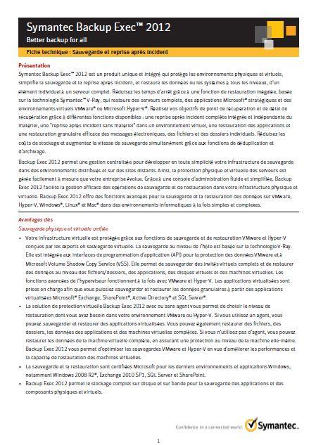 Fiche Produit: Symantec Backup Exec 2012
