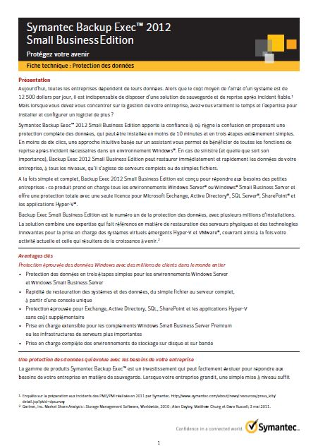 Fiche Produit: Fiche Produit: Symantec Backup Exec 2012 Small Business Edition