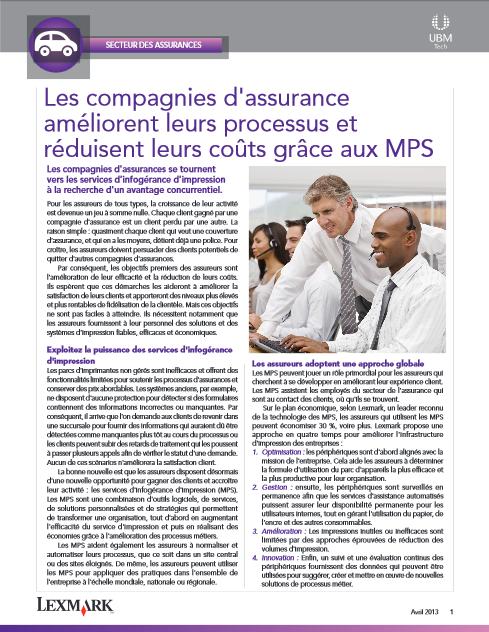 Les compagnies d'assurance améliorent leurs processus et réduisent leurs coûts grâce aux MPS