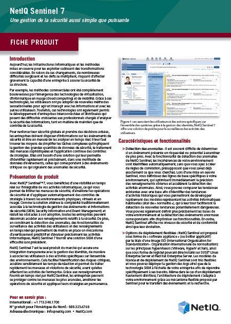 NetIQ Sentinel 7: Une gestion de la sécurité aussi simple que puissante