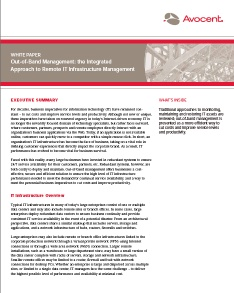 Out-of-band Management : The Integrated Approach to Remove IT Infrastructure Management