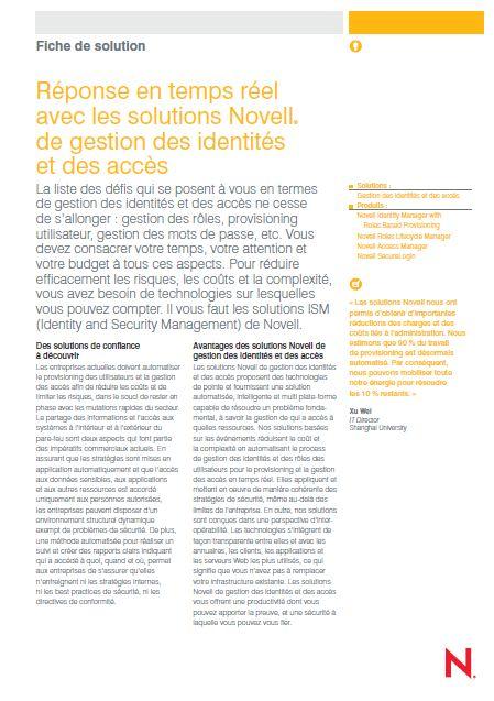 Réponse en temps réel avec les solutions Novell® de gestion des identités et des accès