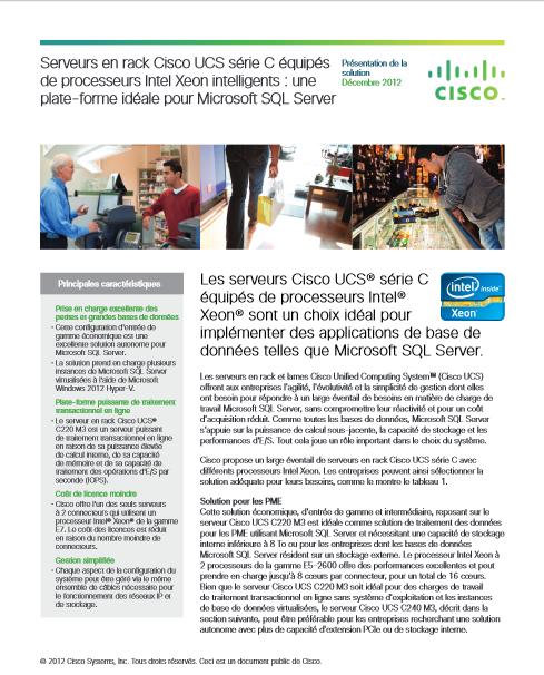 Serveurs en rack Cisco UCS série C équipés de processeurs Intel Xeon intelligents : une plate-forme idéale pour Microsoft SQL Server