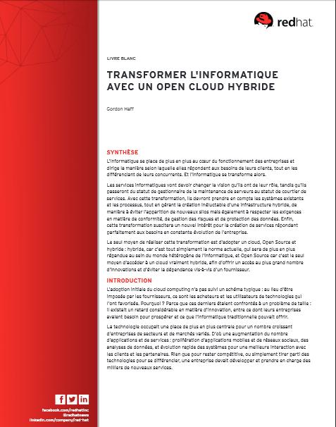 Transformer l'informatique avec un Open Cloud Hybride