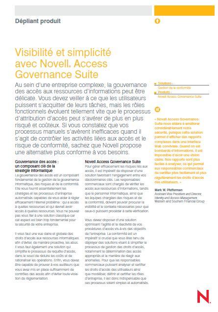 Visibilité et simplicité avec Novell® Access Governance Suite
