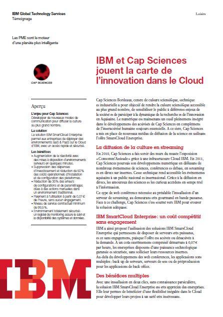 IBM et Cap Sciences jouent la carte de l'innovation dans le Cloud