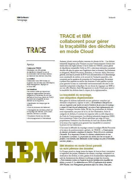 TRACE et IBM collaborent pour gérer la traçabilité des déchets en mode Cloud
