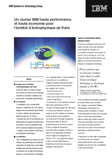 Un cluster IBM haute performance et haute économie pour l'Institut d'Astrophysique de Paris