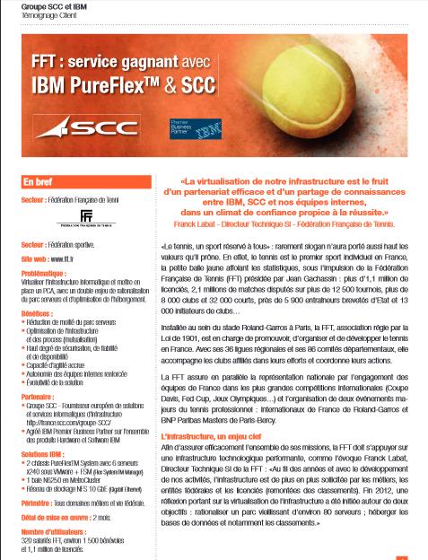 FFT : service gagnant avec IBM PureFlex TM & SCC