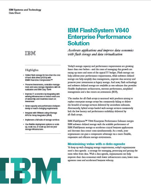 Solution de performance en entreprise IBM FlashSystem V840