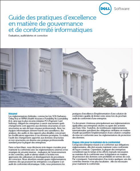 Guide des pratiques d'excellence en matière de gouvernance et de conformité informatiques
