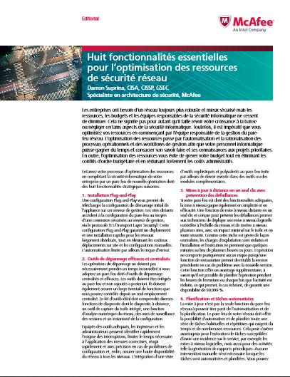 Huit fonctionnalités essentielles pour l'optimisation des ressources de sécurité réseau