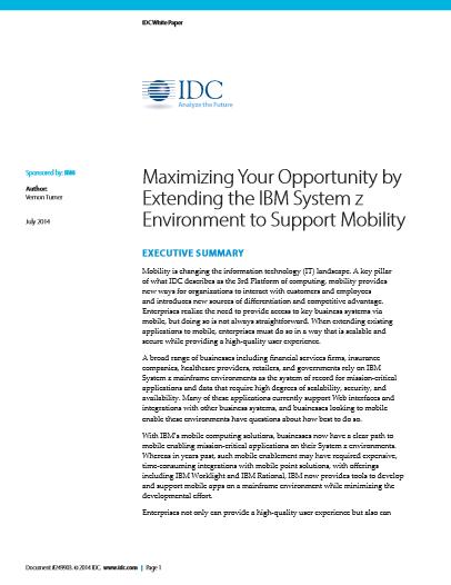 Mobilité : Maximiser vos possibilités en élargissant votre environnement IBM System Z