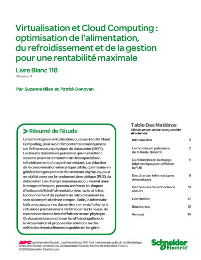Virtualisation et Cloud Computing : optimisation de l'alimentation, du refroidissement et de la gestion pour une rentabilité maximale
