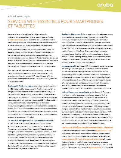 Services wi-fi essentiels pour smartphones Et tablettes