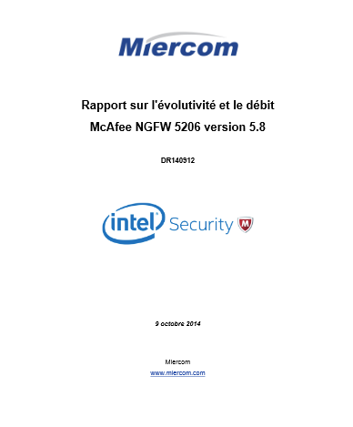 Rapport sur l'évolutivité et le débit McAfee NGFW 5206 version 5.8