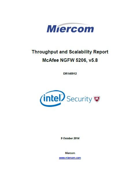 Rapport sur l'évolutivité et le débit McAfee NGFW 5206 v5.8