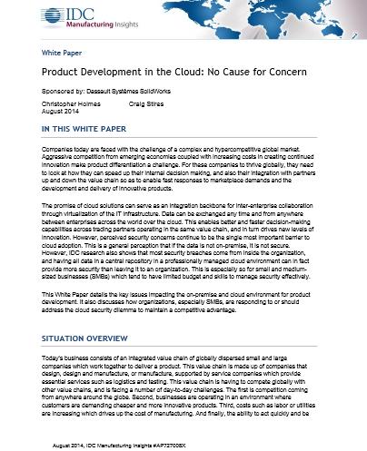 Pas d'inquiétude pour le développement de produit dans le Cloud No Cause for Concern
