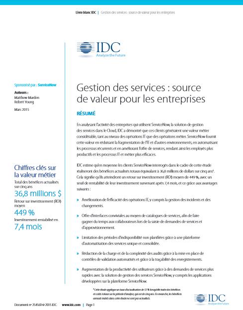 Gestion des services : source de valeur pour les entreprises