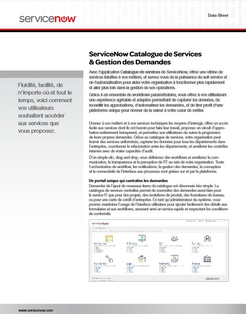 ServiceNow Catalogue de Services & Gestion des Demandes