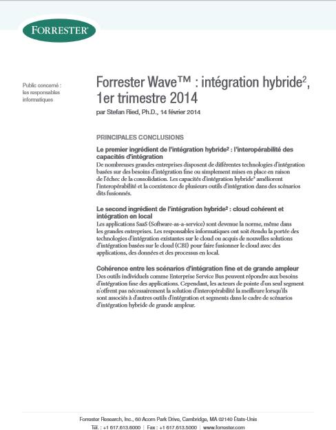 Forrester Wave™ : intégration hybride 2 , 1er trimestre 2014