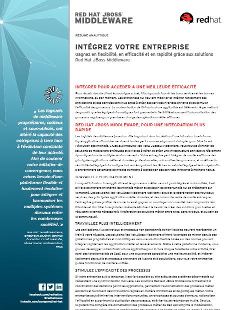 Intégrez votre entreprise: Gagnez en flexibilité, en efficacité et en rapidité grâce aux solutions  Red Hat JBoss Middleware