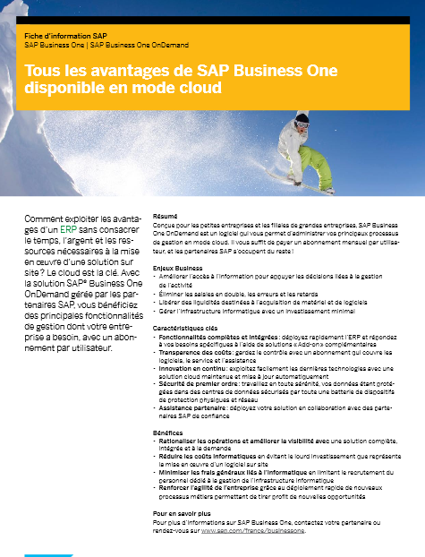 Tous les avantages de SAP Business One disponible en mode cloud