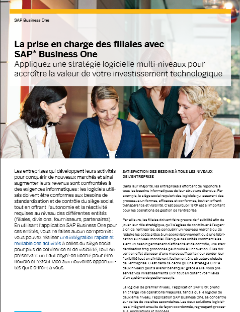La prise en charge des filiales avec SAP® Business One