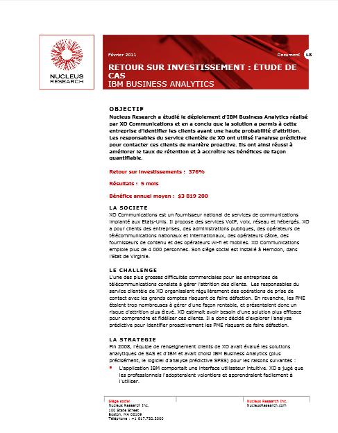 Retour sur investissements: études de cas IBM Business Analytics