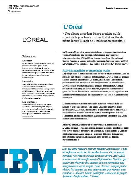 IBM offre une vision 360° de toute l'information produits chez L'Oréal