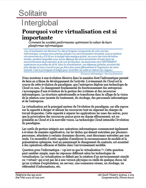 Solitaire Interglobal : Pourquoi votre virtualisation est si importante