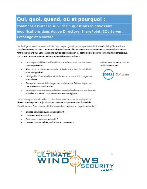 Comment assurer le suivi des 5 questions relatives aux modifications dans Active Directory, SharePoint, SQL Server, Exchange et VMware