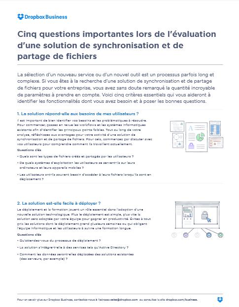 Cinq questions importantes lors de l'évaluation d'une solution de synchronisation et de partage de fichiers