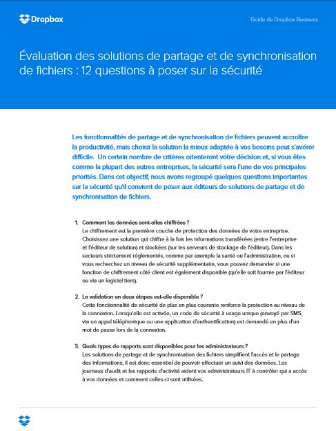 Évaluation des solutions de partage et de synchronisation de fichiers : 12 questions à poser au sujet de la sécurité
