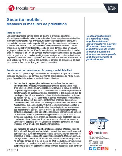 Sécurité mobile : menaces et mesures de prévention