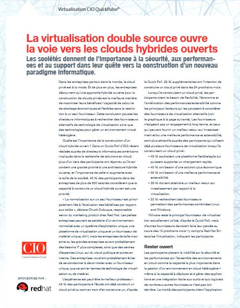 La virtualisation double source ouvre  la voie vers les clouds hybrides ouverts