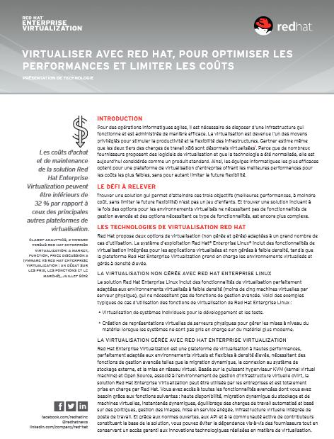 Virtualiser avec Red Hat, pour optimiser les performances et limiter les coûts