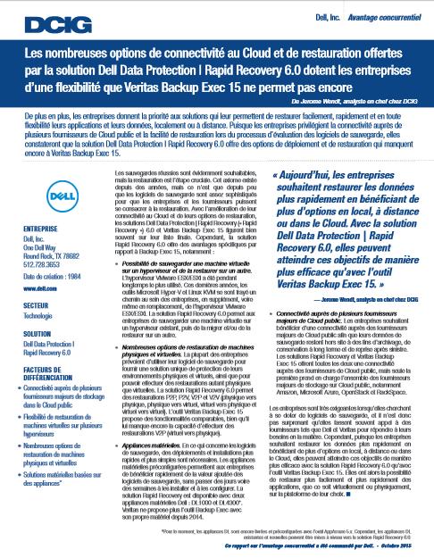 Les nombreuses options de connectivité au Cloud et de restauration offertes par la solution Dell Data Protection