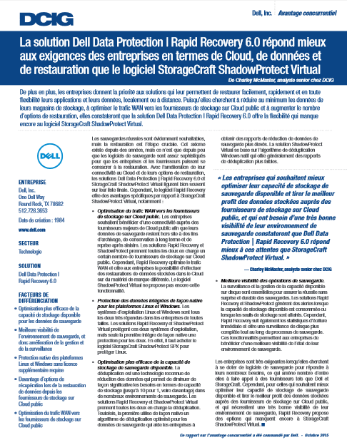 La solution Dell Data Protection | Rapid Recovery 6.0 répond mieux aux exigences des entreprises en termes de Cloud, de données et de restauration que le logiciel StorageCraft ShadowProtect Virtual