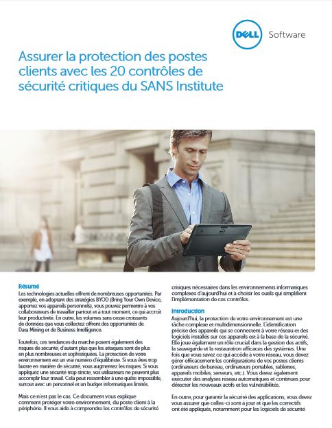 Assurer la protection des postes clients avec les 20 contrôles de sécurité critiques du SANS Institute