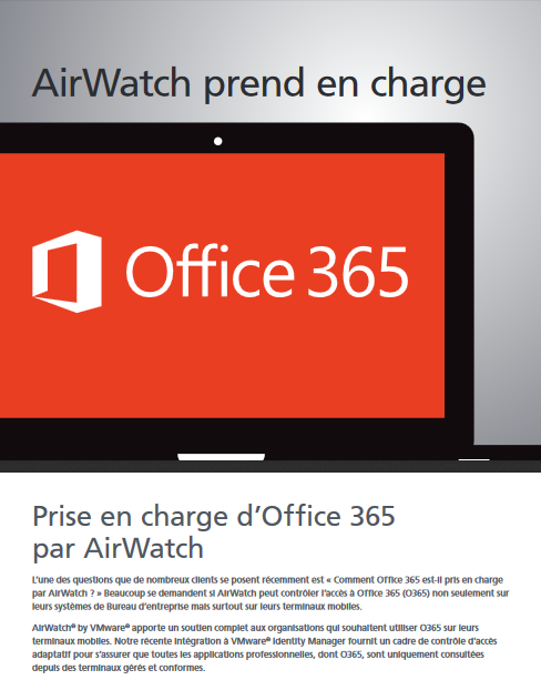 Airwatch prend en charge Office 365