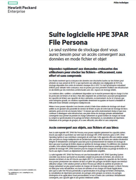 La suite logicielle HPE 3PAR File Persona, un système de stockage indispensable