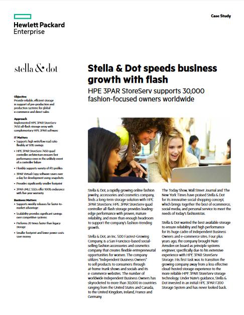 Stella & Dot trouve son bonheur flash avec HPE 3PAR StoreServ