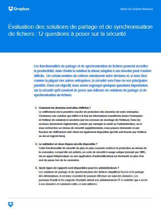 Évaluation des solutions de partage et de synchronisation  de fichiers : 12 questions à poser sur la sécurité